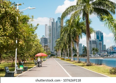 Sidewalk in public park at ocean Promenade and skyline background in Panama City ( Avenida Balboa)