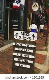 Sidewalk shopping in Maine