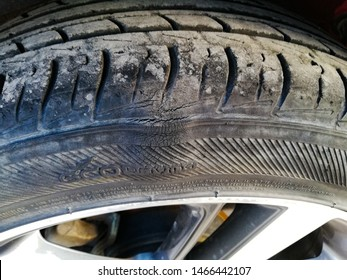 Sidewall bulge or bump of a car Tyre, car Tyre damage, car repair, Tyre repair.