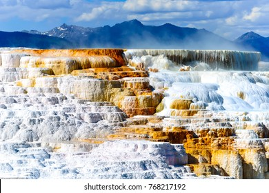 Sideways view of Canary Spring and terraces in the Mammoth Hot Spring area of Yellowstone National Park