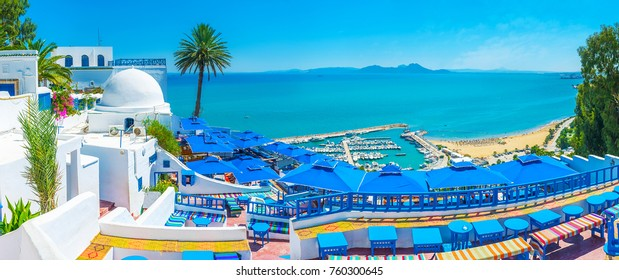 Sidi Bou Said is the scenic village, located on the hilltop and popular among tourists, visiting Tunisia.