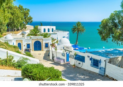 SIDI BOU SAID, TUNISIA - AUGUST 31, 2015: The village is the luxury Tunisian resort located on the mountain in Tunis suburb, on August 31 in Sidi Bou Said.