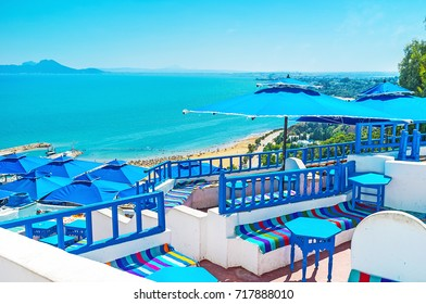 SIDI BOU SAID, TUNISIA - AUGUST 31, 2015: One of the most famous resorts boasts luxury restaurants, family hotels in historic Arabic mansions and cozy sand beach, on August 31 in  Sidi Bou Said.
