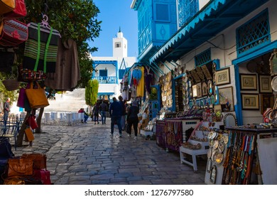 SIDI BOU SAID, TUNISIA - DECEMBER 11, 2018: Cityscape with typical white blue colored houses in resort town Sidi Bou Said. Tunisia.