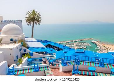 SIDI BOU SAID, TUNISIA - JULY 19, 2018: Beautiful view over of seaside and white blue village Sidi Bou Said, Tunisia, Africa