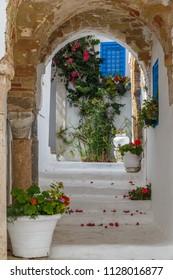 SIDI BOU SAID / TUNISIA - JUNE 2015: Street of charming coastal town Sidi Bou Said close to Tunis capital, Tunisia