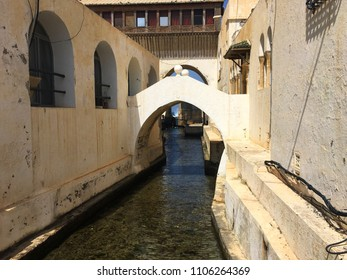Sidi Fredj Port, Algiers, Algeria - April 7, 2018: Canal in the old port.