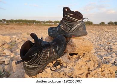 Sidi Kaouiki, Essaouira , Morocco - september 2018 : Salomon shoe brand Outdoor. The Salomon Group is a famous sports equipment manufacturing company.