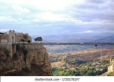 Sidi M'Cid Bridge in Constantine, Algeria. It's a 164 m long suspension bridge across the Rhummel River, opened to traffic in April 1912 and until 1929 was the highest bridge in the world at 175 m.