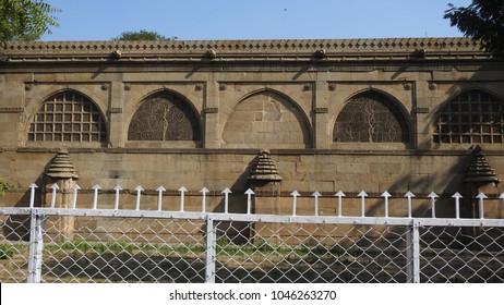 Sidi Saiyyed Mosque (backside view), Ahmedabad, Gujarat, India  -  24th December 2017