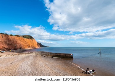 SIDMOUTH, DEVON, UK - 01OCT2018: Looking East from Sidmouth Beach towards Salcombe Hill Cliff and Beer Head.