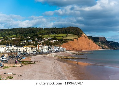 Sidmouth and Salcombe Hill Cliff from the viewpoint in Connaught Gardens