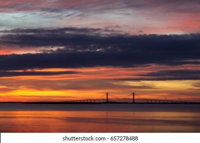 Sidney Lanier Bridge viewed from Jekyll Island, Brunswick, Georgia.