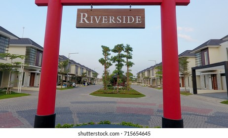 Sidoarjo, Indonesia - August 10th, 2017: Typical Japanese gate on the River Side cluster in Citra Harmoni housing complex in Sidoarjo, East Java, Indonesia on August 10th, 2017