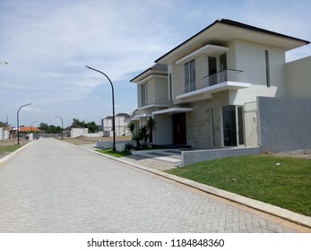 Sidoarjo, Indonesia - May 15, 2018: Example house in the Newyork cluster of the Citraharmoni housing complex, Sidoarjo, East Java, Indonesia