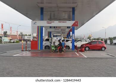 Sidoarjo, Indonesia - October 28, 2018: Gas station, refueling of the Indonesia oil company, Pertamina in Sidoarjo, East Java, Indonesia