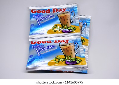"Sidoarjo-May 26, 2018: illustrative editorial photo: coffe freeze brand ""Good Day"" produced by PT. Santos Jaya Abadi, East Java"