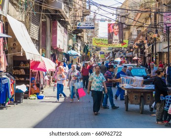 SIDON, LEBANON - MAY 21, 2017 - Crowded street in the city center.