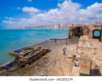 SIDON, LEBANON - MAY 21, 2017 - View of the Sidon Sea Castle, built by the crusaders as a fortress of the holy land.