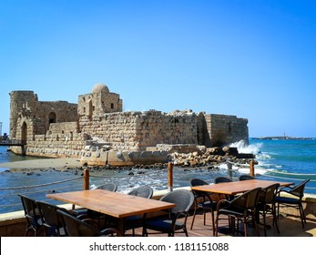 Sidon Sea Castle, as seen from an outlook in a nearby restaurant | Sidon, Lebanon.