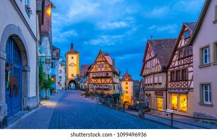 Siebers Tower, Plönlein and Kobolzell Gate, Rothenburg ob der Tauber, Romantic Road, Franconia, Bavaria, Germany, Europe, 14. July 2015
