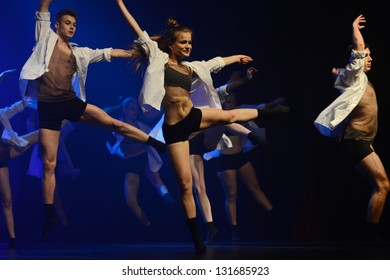 SIEDLCE, POLAND 14 MARCH: dancers of Luz Dance Theatre perform on stage at Podlasie theatre on March 14 2013 in Siedlce, Poland