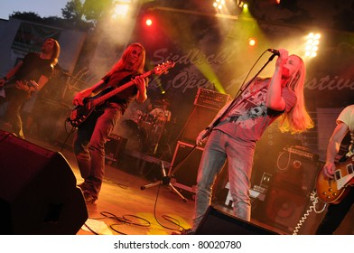 SIEDLCE, POLAND - JUNE 26: Rust perform on stage at Siedlecki Rock Open Air Festival on June 26, 2011 in Siedlce, Poland