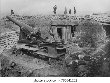 Siege of Ottoman Adrianople by Bulganian and Serbian forces, Nov. 3, 1912 _March 26, 1913. Captured Ottoman siege battery with dead Turkish soldiers
