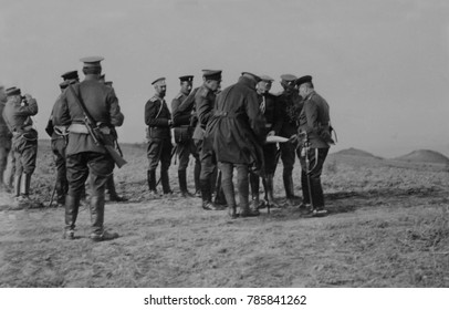 Siege of Ottoman Adrianople by Bulganian and Serbian forces, Nov. 3, 1912 _March 26, 1913. Bulgarian Czar Ferdinand studying map at Adrianople, First Balkan War