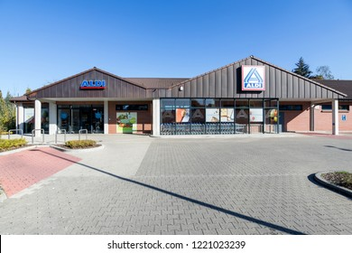 SIEGEN, GERMANY - October 21, 2018: Aldi branch (north division). Aldi is a leading global discount supermarket chain with almost 10,000 stores in 18 countries.