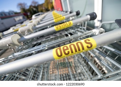 SIEGEN, GERMANY - OCTOBER 21, 2018: Denn's shopping carts. Denn's Biomarkt is a subsidiary of Denree Group and operates more than 280 stores in Germany and Austria.