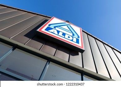 SIEGEN, GERMANY - October 21, 2018: Aldi sign (north division) at branch. Aldi is a leading global discount supermarket chain with almost 10,000 stores in 18 countries.