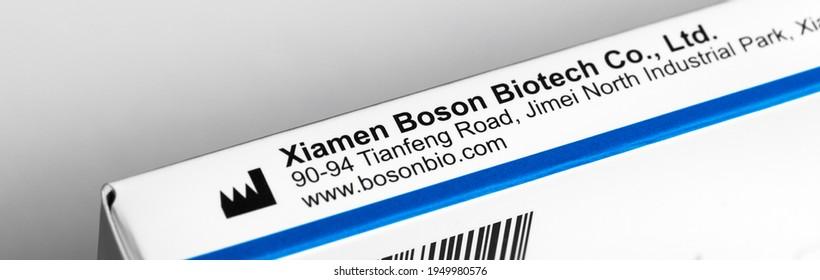 siegen, north rhine westphalia, germany - 05 04 2021: a xiamen boson biotech covid-19 antigen test card