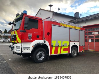 Siegen,NRW, Germany - 02.06.2021 : A fire truck park in front of a fire station.