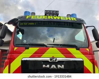 "Siegen,NRW, Germany- 02.06.2021 : Front of a new ""TLF"" fire truck."