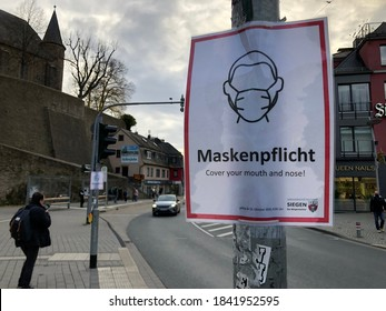 Siegen,NRW, Germany - 10.27.2020: Mask duty for hotspot citys in North rhine westphalia. Police force control in the streets.