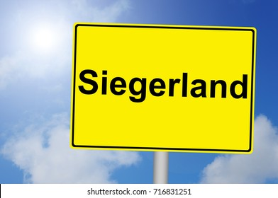 Siegerland Sign with Sky Background