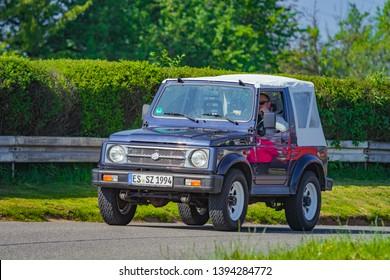 Sielmingen, Germany - May 1, 2019: Suzuki Samurai japanese oldtimer offroad car at the 15. Sielminger Oldtimerfest event.