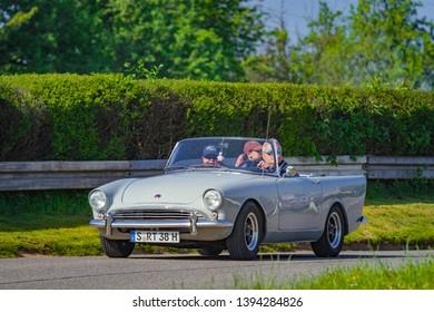 Sielmingen, Germany - May 1, 2019: Sunbeam Alpine oldtimer car at the 15. Sielminger Oldtimerfest event.