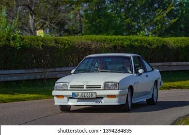 Sielmingen, Germany - May 1, 2019: Opel Manta GSi german oldtimer car at the 15. Sielminger Oldtimerfest event.