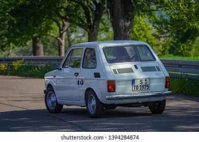 Sielmingen, Germany - May 1, 2019: Fiat 126 italian oldtimer car at the 15. Sielminger Oldtimerfest event.