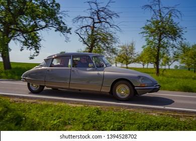 Sielmingen, Germany - May 1, 2019: Citroen DS 21 french oldtimer car at the 15. Sielminger Oldtimerfest event.