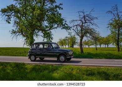 Sielmingen, Germany - May 1, 2019: Renault 4 french oldtimer car at the 15. Sielminger Oldtimerfest event.