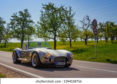 Sielmingen, Germany - May 1, 2019: AC Shelby Cobra 427 oldtimer car at the 15. Sielminger Oldtimerfest event.