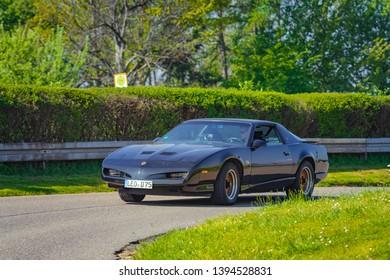 Sielmingen, Germany - May 1, 2019: Pontiac Firebird GTA american oldtimer car at the 15. Sielminger Oldtimerfest event.