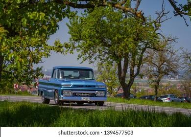 Sielmingen, Germany - May 1, 2019: GMC american oldtimer pickup truck at the 15. Sielminger Oldtimerfest event.
