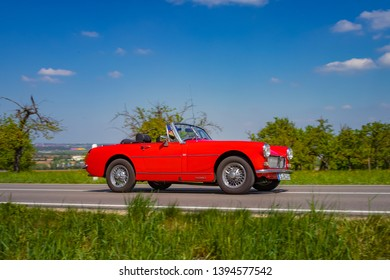 Sielmingen, Germany - May 1, 2019: MG Midget british oldtimer car at the 15. Sielminger Oldtimerfest event.
