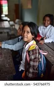 SIEM REAP - CAMBODIA / 08.12.2015: School girl from local khmer village near to Siem Reap city