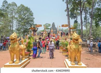 SIEM REAP, CAMBODIA - 16 APRIL 2016: Decoration in Angkor Thom during Angkor Sangkran 2016