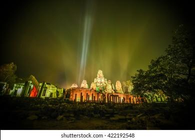 SIEM REAP, CAMBODIA 2016 - Illuminated Bayon temple near Siem Reap in Cambodia during Kmer new Year 2016